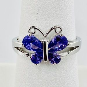 Purple Amethyst Butterfly 10K White Gold Ring Sz10